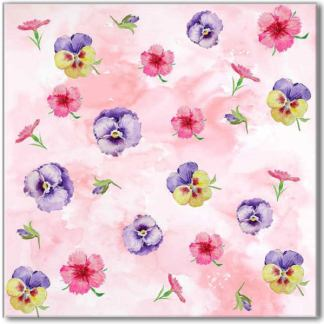 Pink Pansy Pattern Ceramic Wall Tile