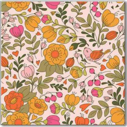 Retro pink floral pattern square ceramic wall tile