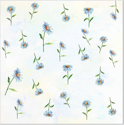 Ditsy Daisies Floral Pattern Ceramic Wall Tile