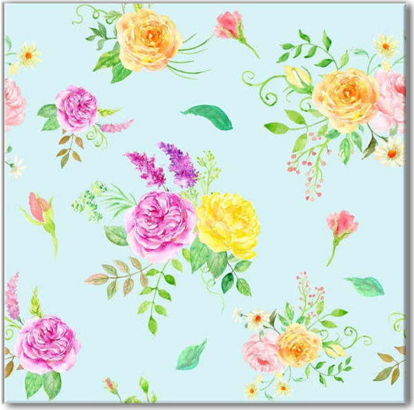 Summer rose bouquets on a duck-egg blue background, floral pattern ceramic wall tile