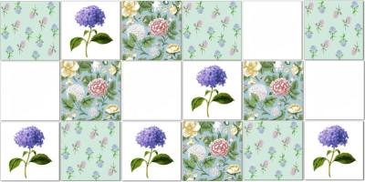 Hydrangea Tiles - patchwork pattern example with Hydrangea flower ceramic wall tiles in blues and greens