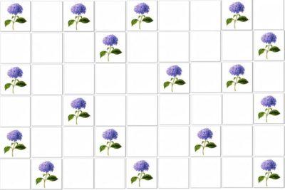 Hydrangea Tiles Pattern Example - Single blue Hydrangeas scattered among plain white ceramic wall tiles