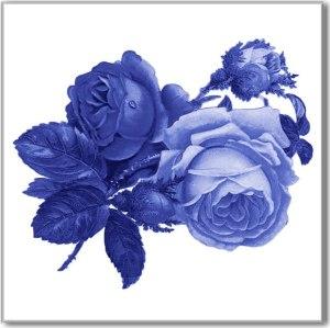 Rose Tiles Ideas - Blue Roses Ceramic Wall Tile
