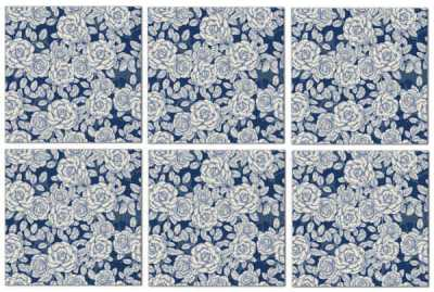 Splashback Tiles - Dark Blue Roses Pattern Example