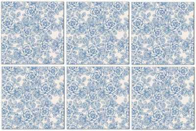 Splashback Tiles - Light Blue Roses Pattern Example
