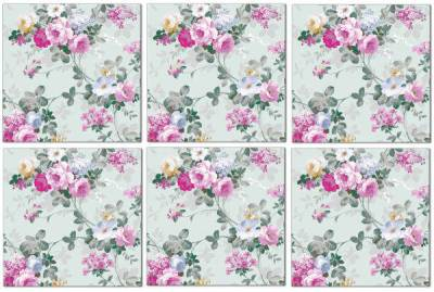 Splashback Tiles - Pale Green and Pink Roses Pattern Example
