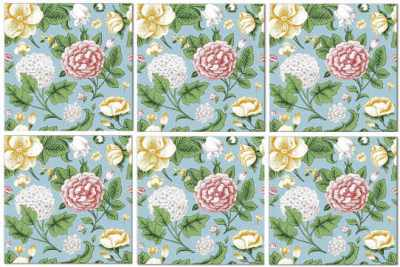 Splashback Tiles - Vintage Hydrangeas and Roses Tile Pattern Example