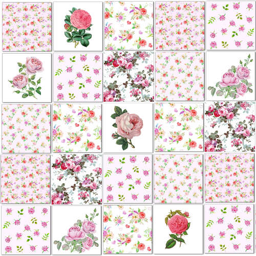 Printed Tiles - pink roses patchwork wall tiles pattern example