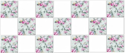 Shabby Chic Tiles - Pale green roses checker pattern