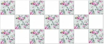 Shabby Chic Tiles - Pale green roses checker pattern