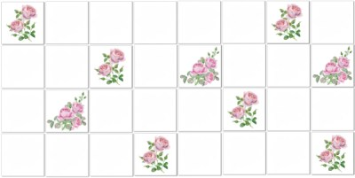 Shabby Chic Tiles - Pink watercolour scattered roses tile pattern