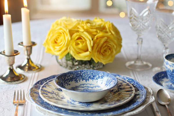 Vintage Tiles - table place setting with yellow roses