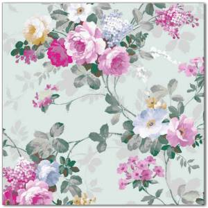 Patterned Tiles - Pale green and pink roses ceramic patterned wall tile