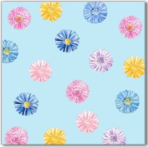 Patterned Tiles - Blue Daisies on a Pale Blue Background Ceramic Wall Tile