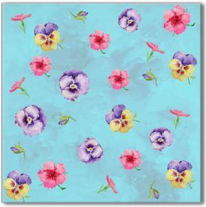 Blue Tiles - Blue Pansy Pattern Ceramic Wall Tile