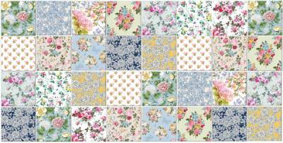 Patchwork Tiles - Bold floral colours patchwork tiles pattern example
