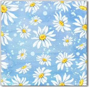 Patterned Tiles - White Daisies on a Blue Background Ceramic Wall Tile