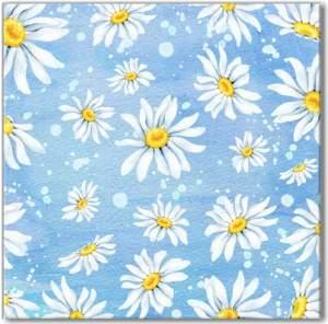 Blue Tiles - White Daisies Pattern Ceramic Wall Tile
