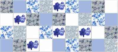 Patchwork Tiles - Classic Blue Roses Patchwork Tiles Pattern Example