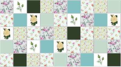 Patchwork Tiles - Green Roses Patchwork Tiles Pattern Example