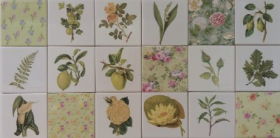 Patchwork tiles - Green floral tiles patchwork tiles pattern example