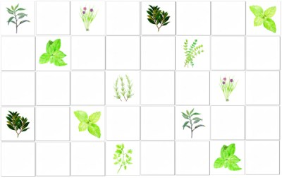 Green Tiles - Herbs Scattered Tile Pattern Example