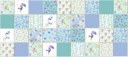 Blue Tiles - Patchwork tile pattern made from pale blue ceramic wall tiles