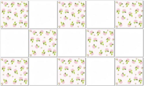 Pink Tiles - Pink and White Check Hydrangea Tile Pattern Example