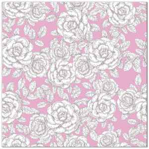 Pink and white roses patterned ceramic wall tile