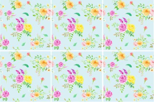 Blue Tiles - duck egg blue background with yellow and pink flowers, ceramic wall tile pattern example
