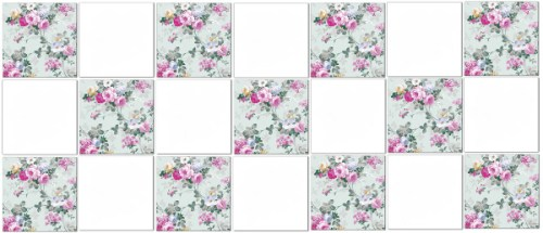 Flower Tiles - pale green and pink roses ceramic wall tiles in checker pattern with plain white tiles