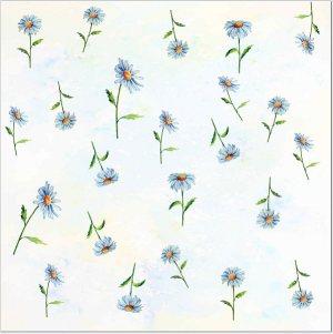 Flower Tiles - white Daisy flowers pattern ceramic wall tile