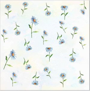 Flower Tiles - white Daisy flowers pattern ceramic wall tile
