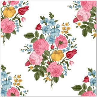 Vintage Flower Spray Ceramic Wall Tile - Seamless Floral Design on a White background