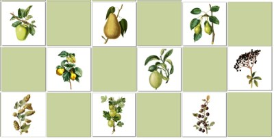 Kitchen tiles ideas - fruit tiles checker pattern example
