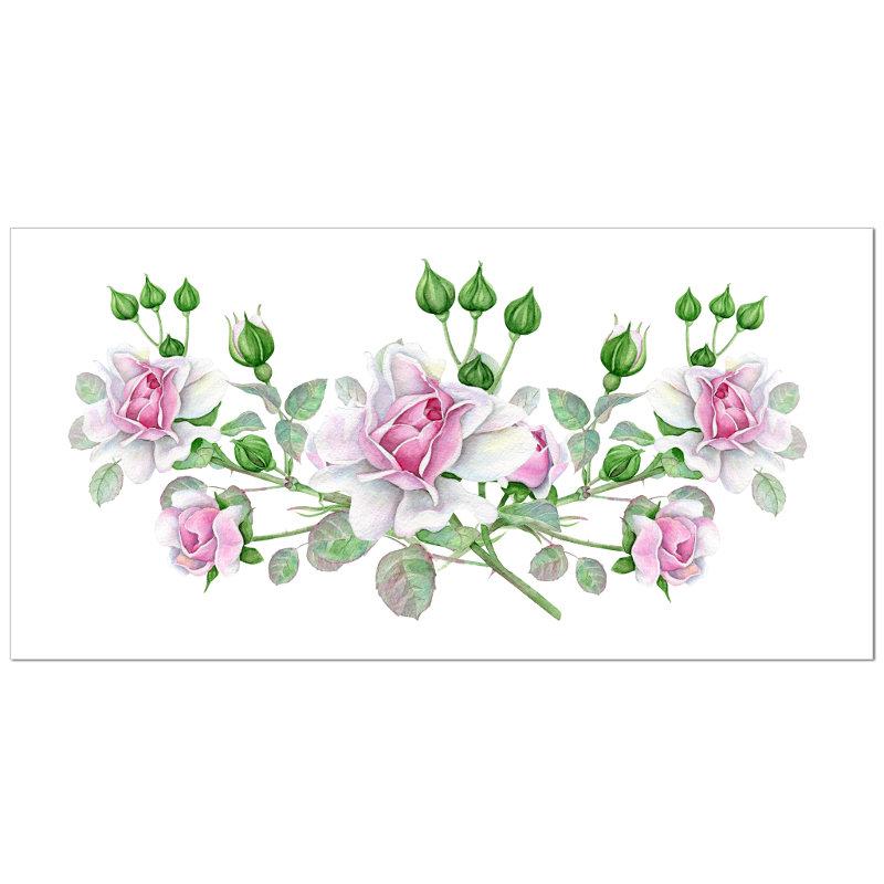 Dusky Pink Roses Ceramic Border Wall Tile