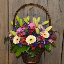 Paprasta gėlių pintinė