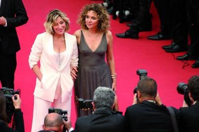 Valeria Golino with Valeria Bruni Tedeschi on the red carpet at Cannes Film Festival