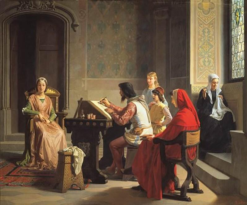 P. Saltini, Simon Memmi che per incarico del Petrarca sta ritraendo la Laura, 1863, Firenze, Galleria Palatina di Palazzo Pitti