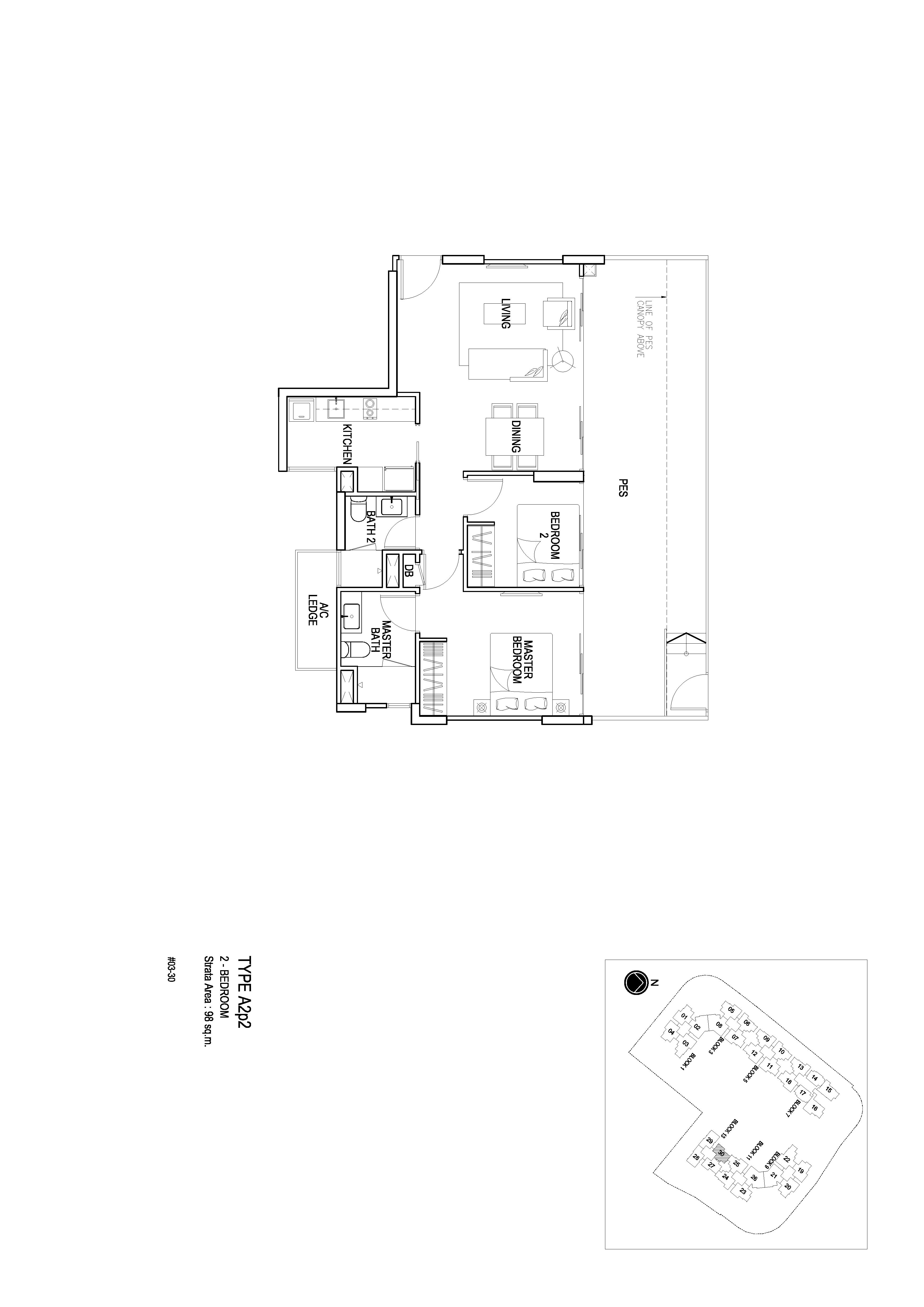 Flo Residence 2 Bedroom PES Floor Plans Type A2p2