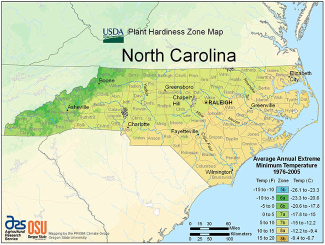 North Carolina USDA Zones