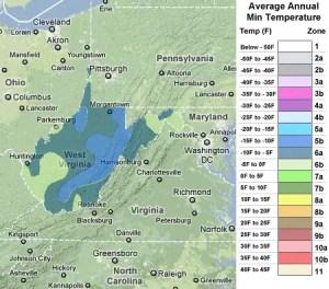 West Virginia usda zones