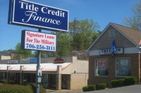 itle Credit Finance is two doors down from Cashwells Title Pawn and World Finance Corp. on Victory Drive outside of Fort Benning, in Columbus, Ga. Photo: Mitchell Hartman/Marketplace