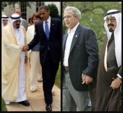 President Obama with Saudi King Abdullah at the White House in 2010; President George W. Bush with Crown Prince Abdullah shortly before he became king in 2005