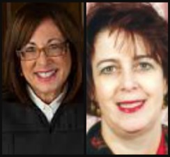Broward County Court Judges Sharon Zeller, right, and Ginger Lerner-Wren