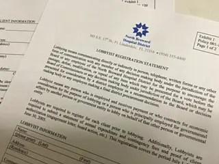Broward Health's never used lobbyist registration form