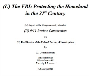 The title page of the 9/11 Review Commission's 2015 report.