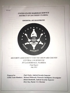 The first page of the U.S. Marshals Service security assessment for the Broward County Courthouse.