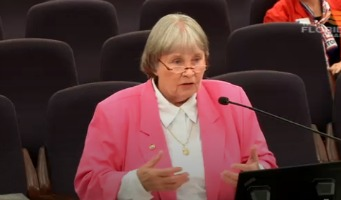Gray haired Marion Hammer wearing a pink jacket and white shirt and addressing a legislative committee