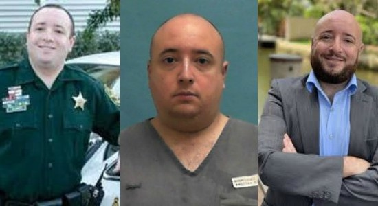Three photos of Jonathan Bleiweiss as a BSO deputy, inmate and justice center president